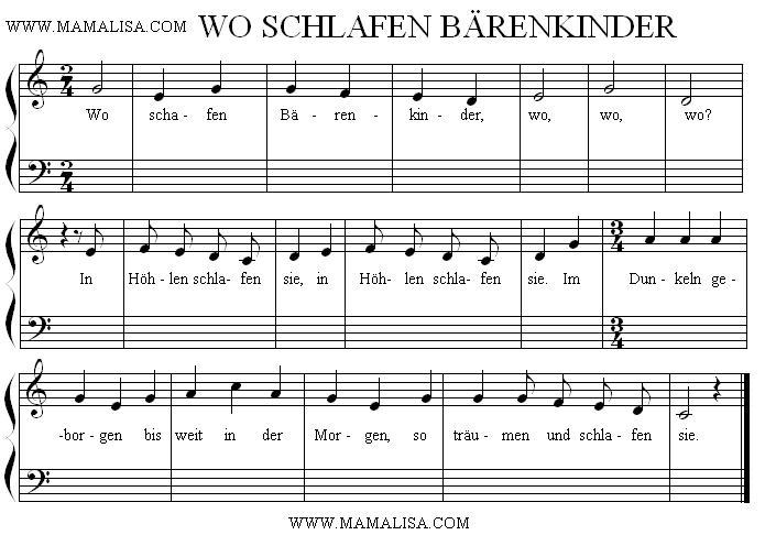 Sheet Music - Wo schlafen Bärenkinder