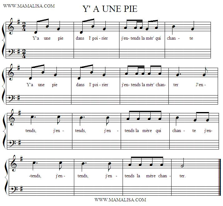 Sheet Music - Y'a une pie dans l' poirier