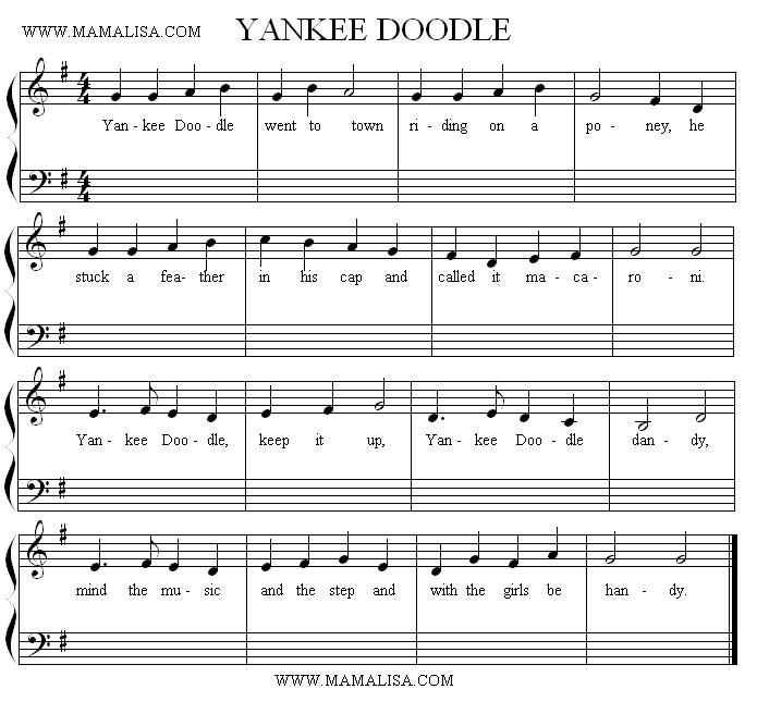 Partition musicale - Yankee Doodle