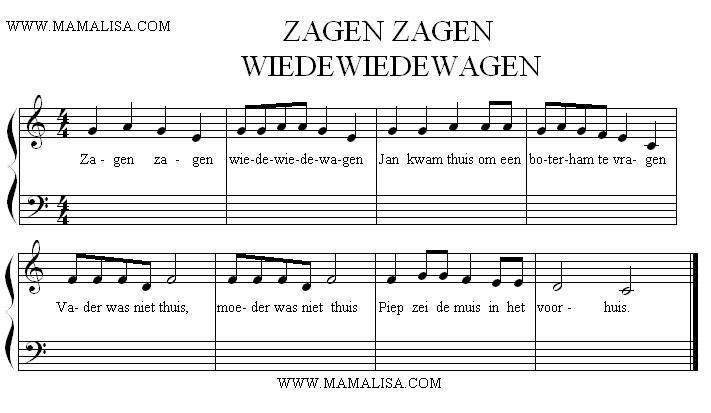 Sheet Music - Zagen, zagen, wiede wiede wagen