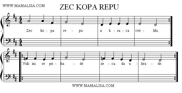 Partition musicale - Zec kopa repu