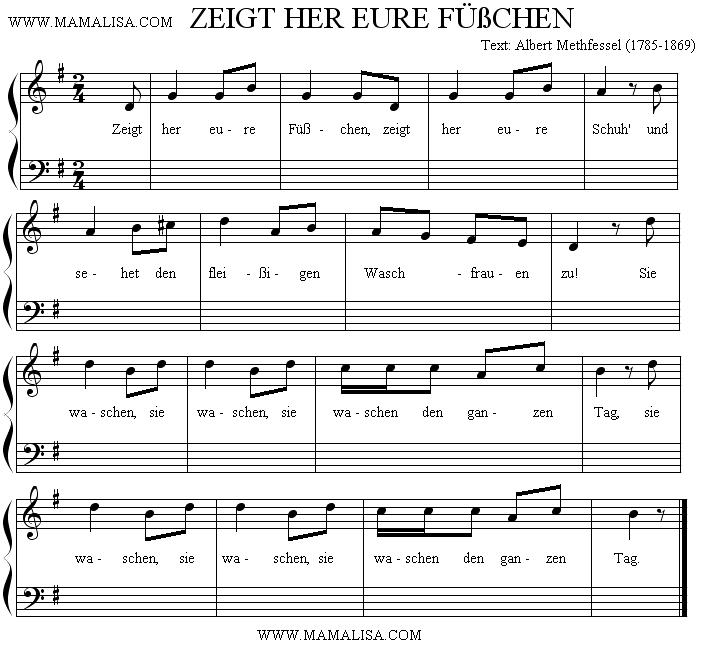 Partition musicale - Zeigt her eure Füßchen