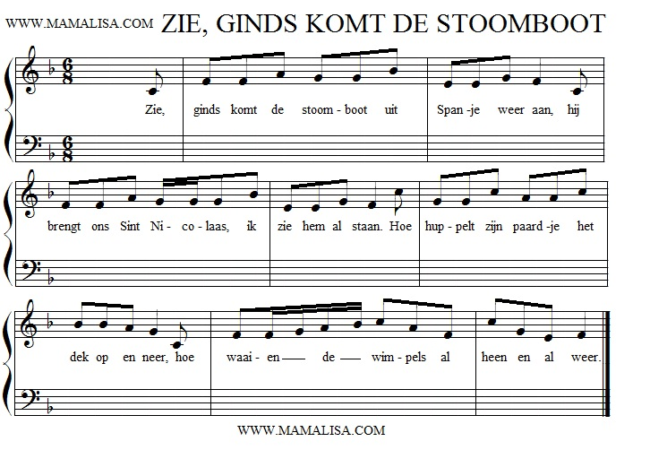 Sheet Music - Zie Ginds Komt de Stoomboot