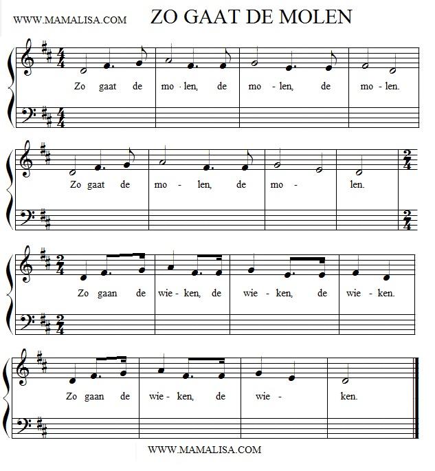 Partition musicale - Zo gaat de molen