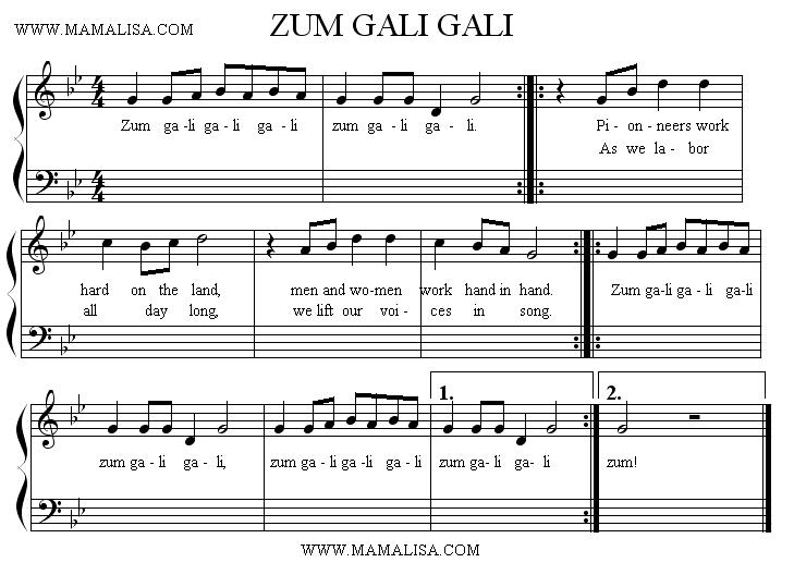 Sheet Music - Zum Gali Gali