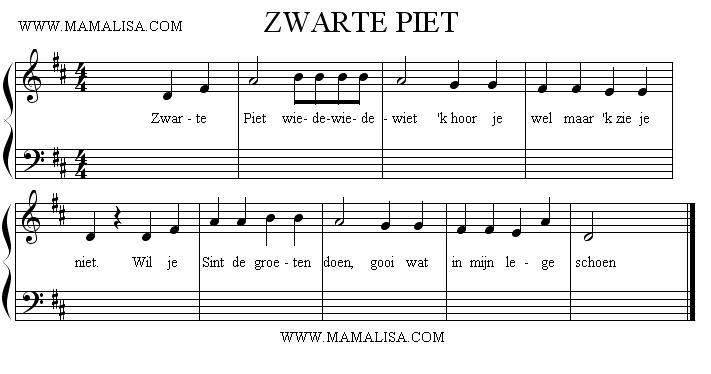 Partition musicale - Zwarte Piet, wiedewiedewiet