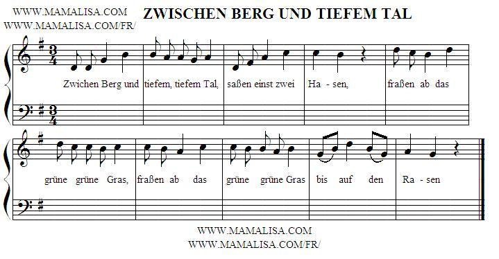Sheet Music - Zwischen Berg und tiefem Tal